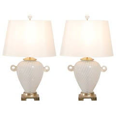 Outstanding Pair of Cream Murano Lamps with Blown Glass Handles