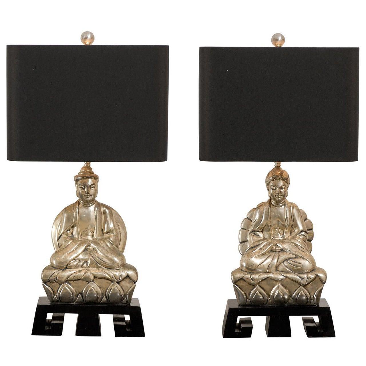 Elegant Pair of Cast Asian Lamps on Greek Key Base