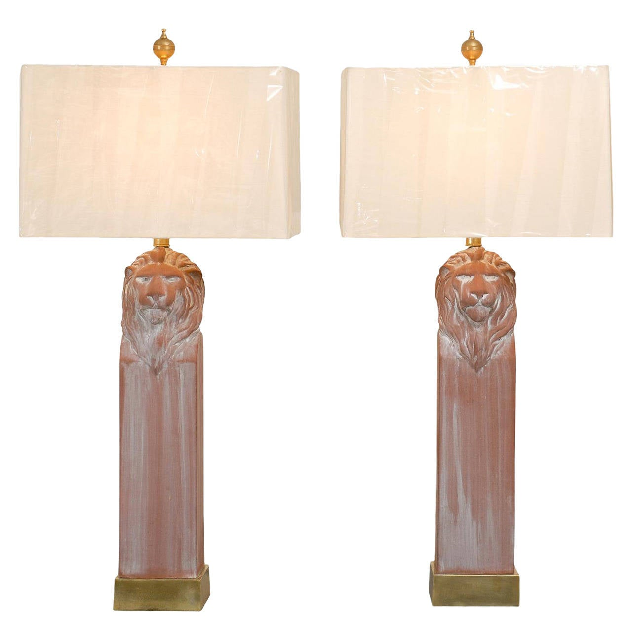 Noble Pair of Vintage Lion Head Lamps in Terracotta and Brass