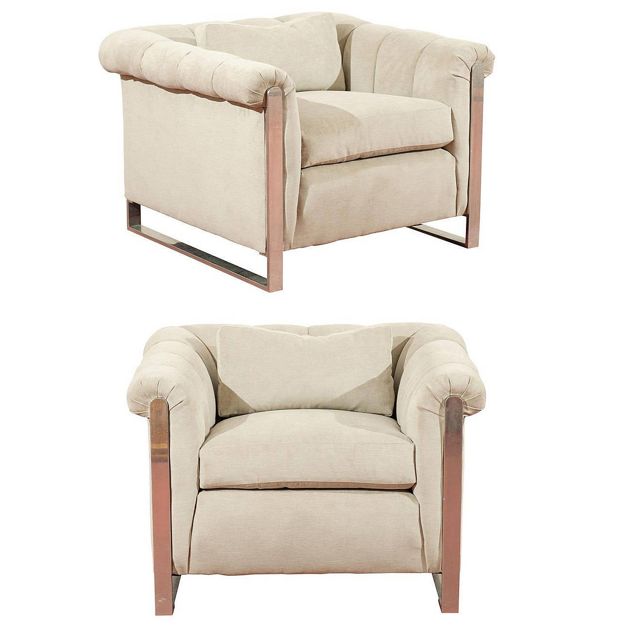 Striking Pair of Channeled Cube Lounge Chairs in the Style of Probber