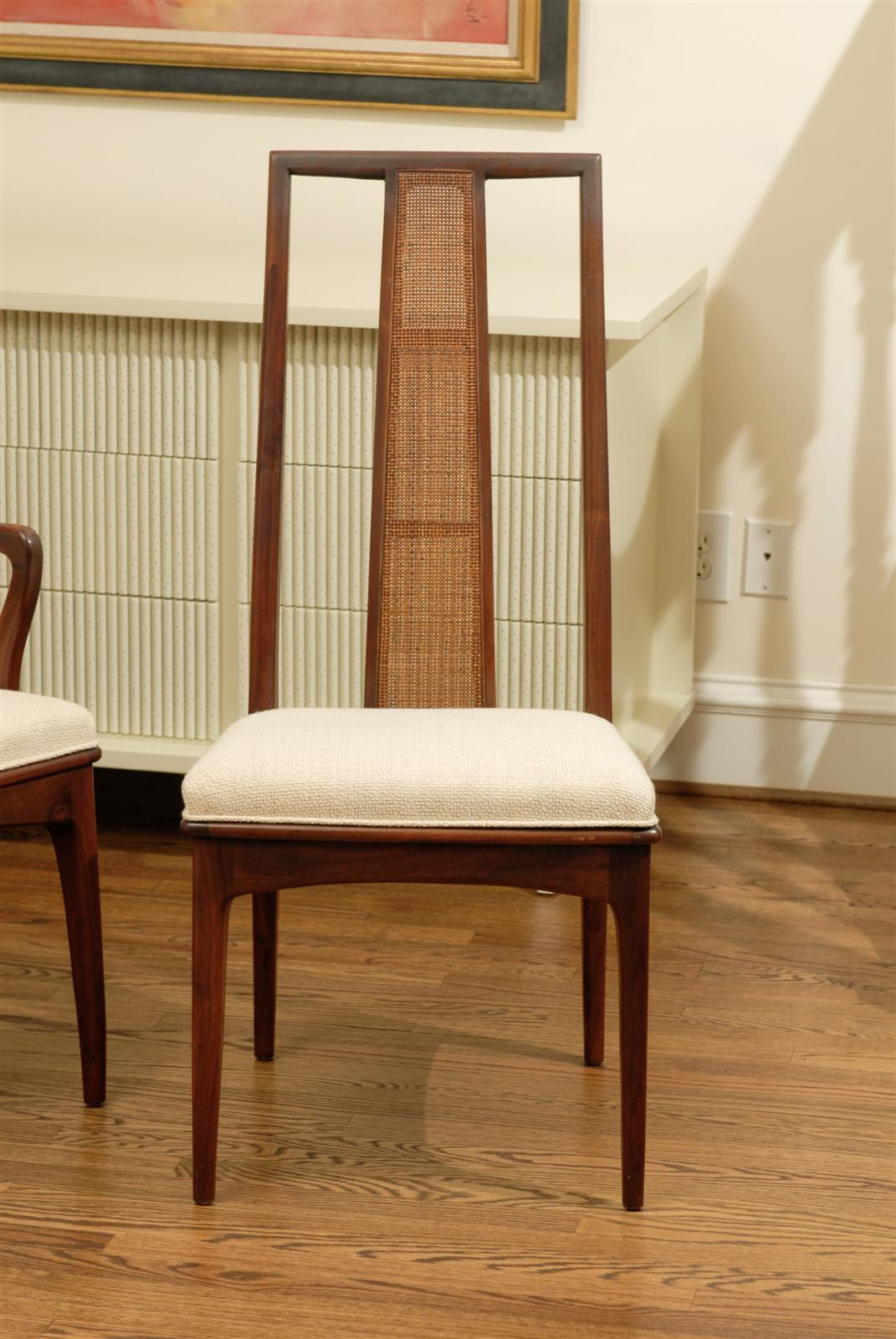 American Elegant Set of Six Walnut and Cane Dining Chairs by John Stuart For Sale