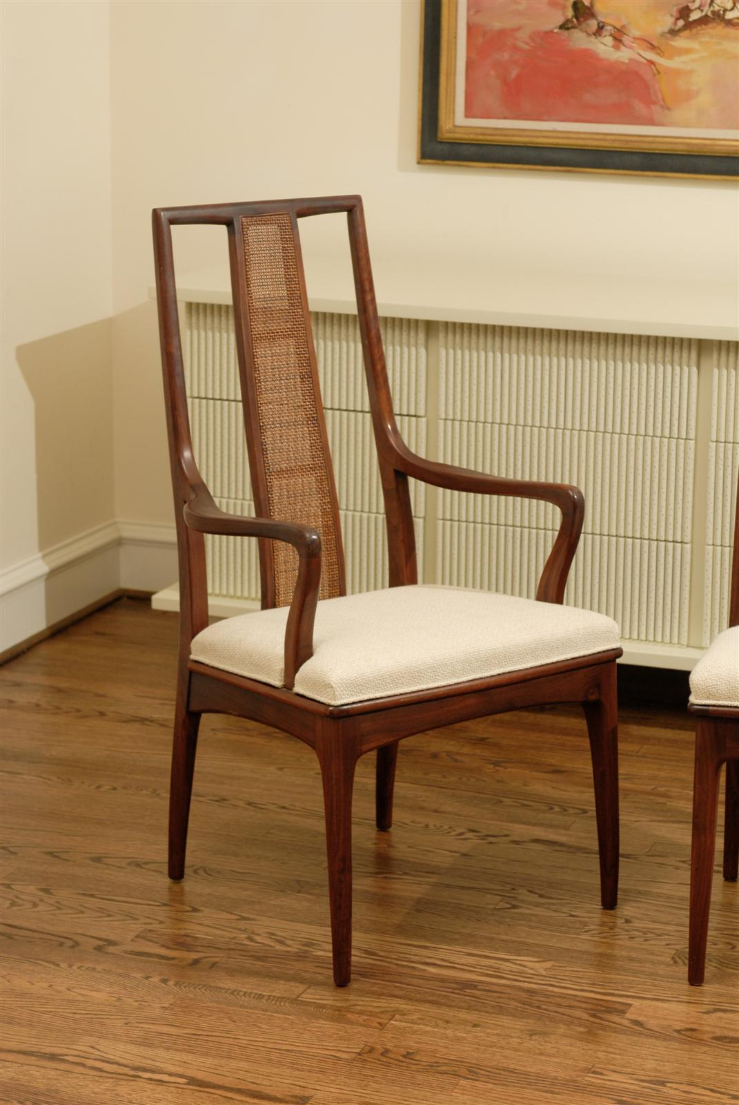 Mid-20th Century Elegant Set of Six Walnut and Cane Dining Chairs by John Stuart For Sale