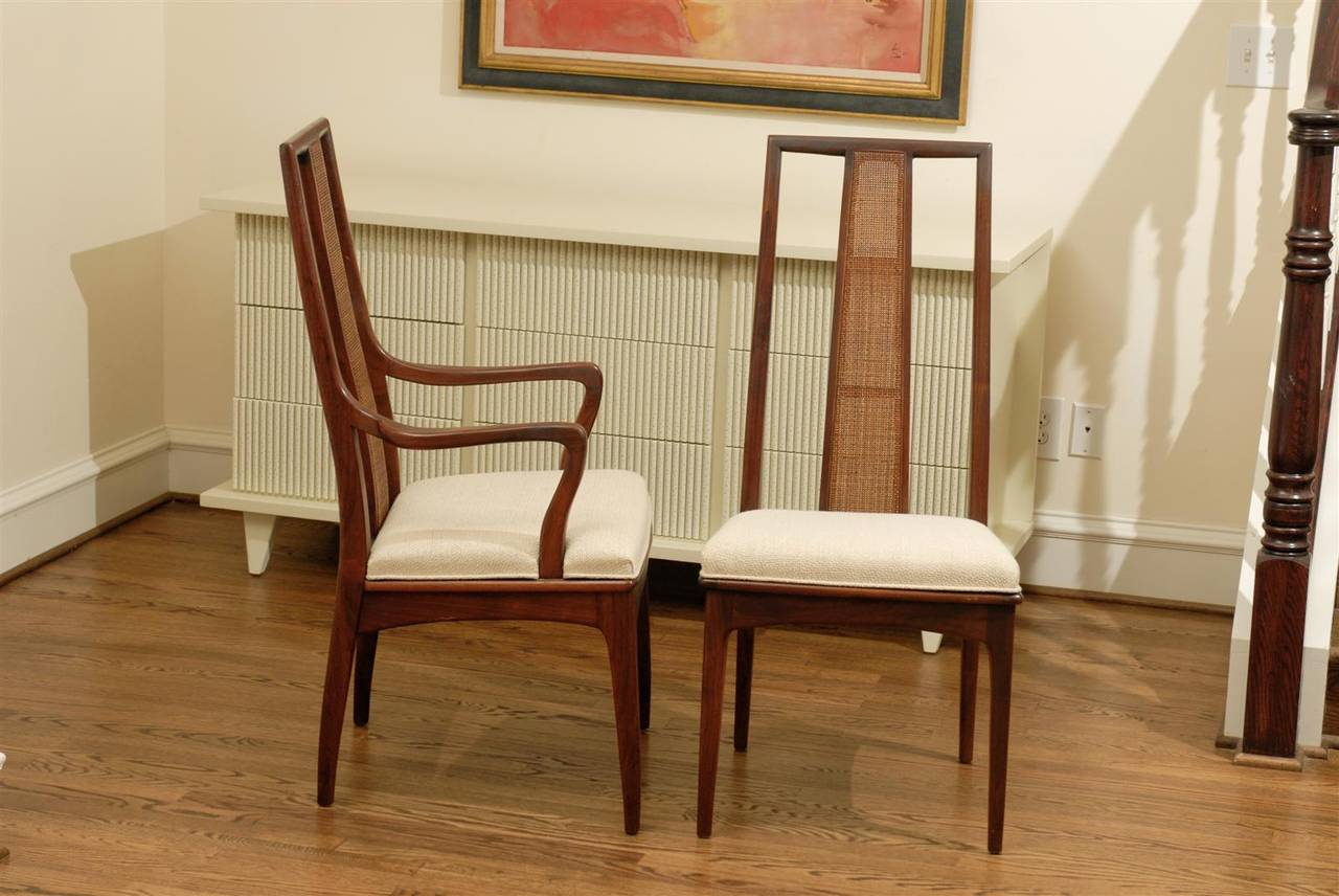 Elegant Set of Six Walnut and Cane Dining Chairs by John Stuart In Excellent Condition For Sale In Atlanta, GA