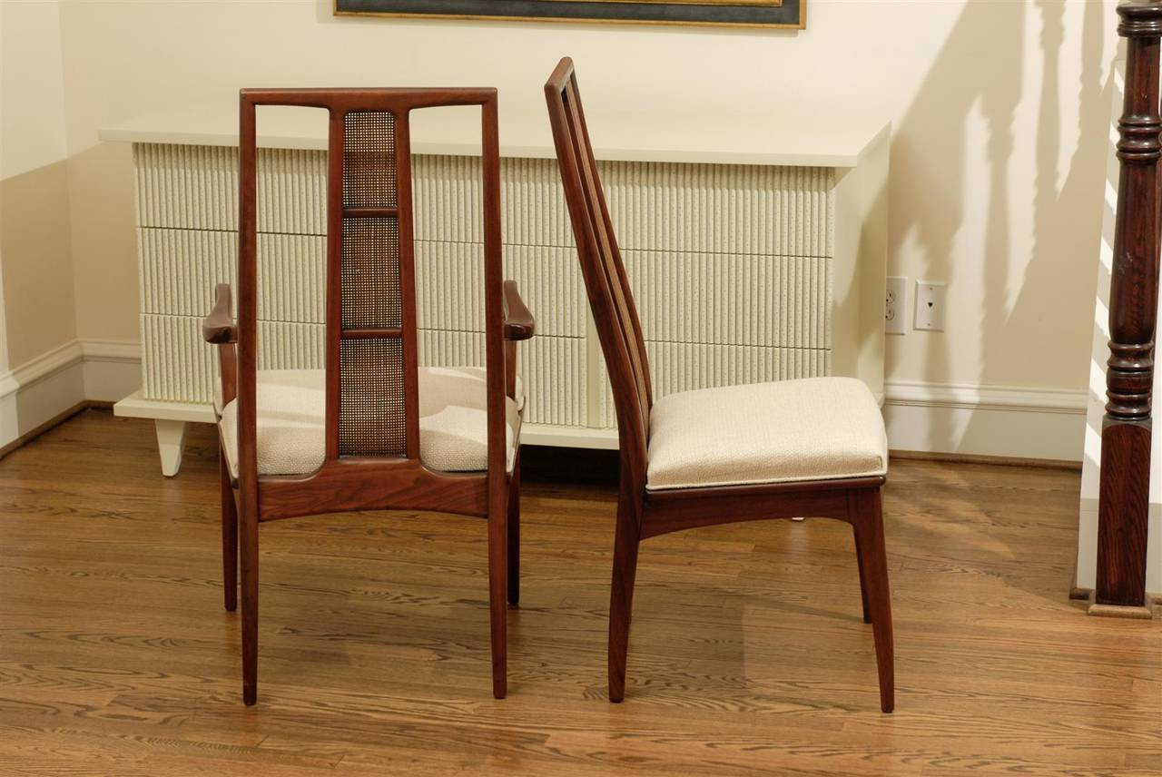 Elegant Set of Six Walnut and Cane Dining Chairs by John Stuart For Sale 3