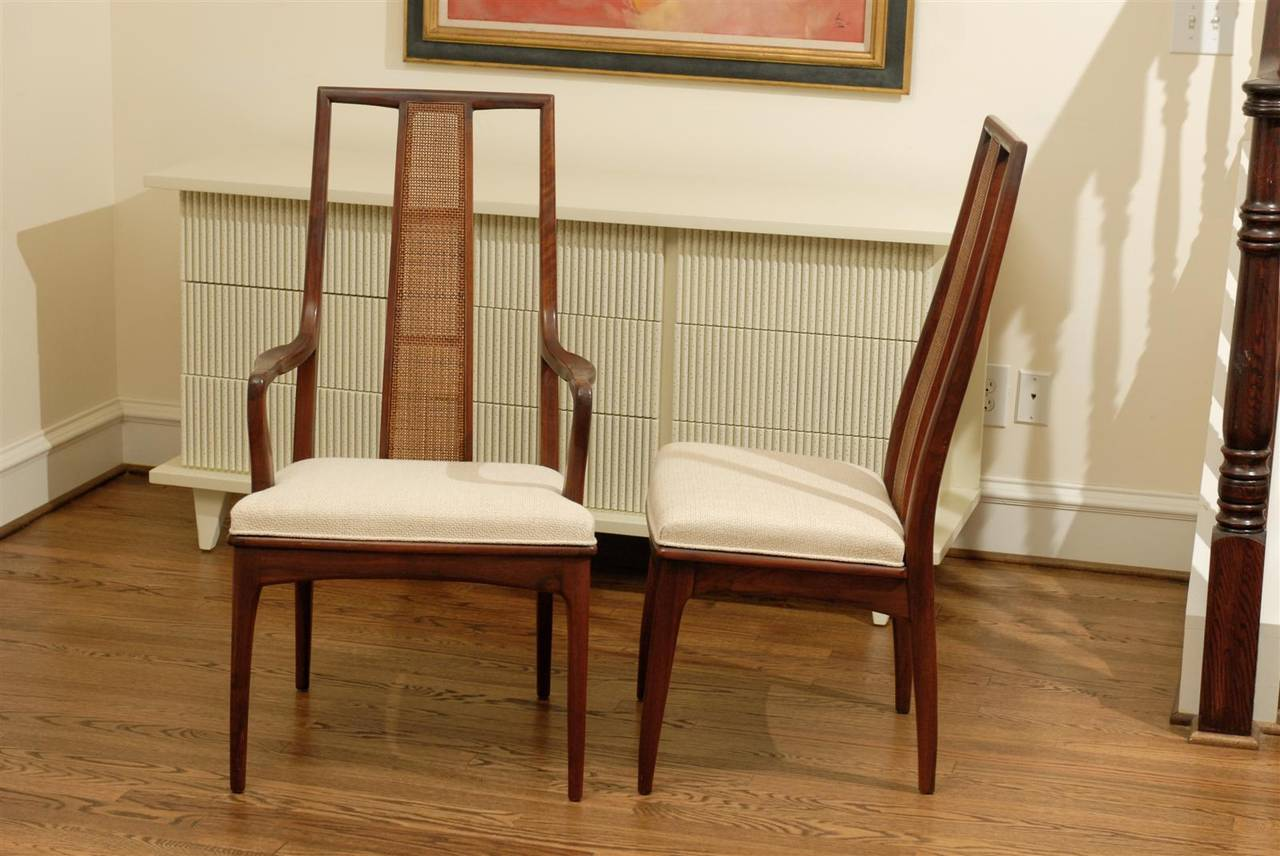 Elegant Set of Six Walnut and Cane Dining Chairs by John Stuart For Sale 4