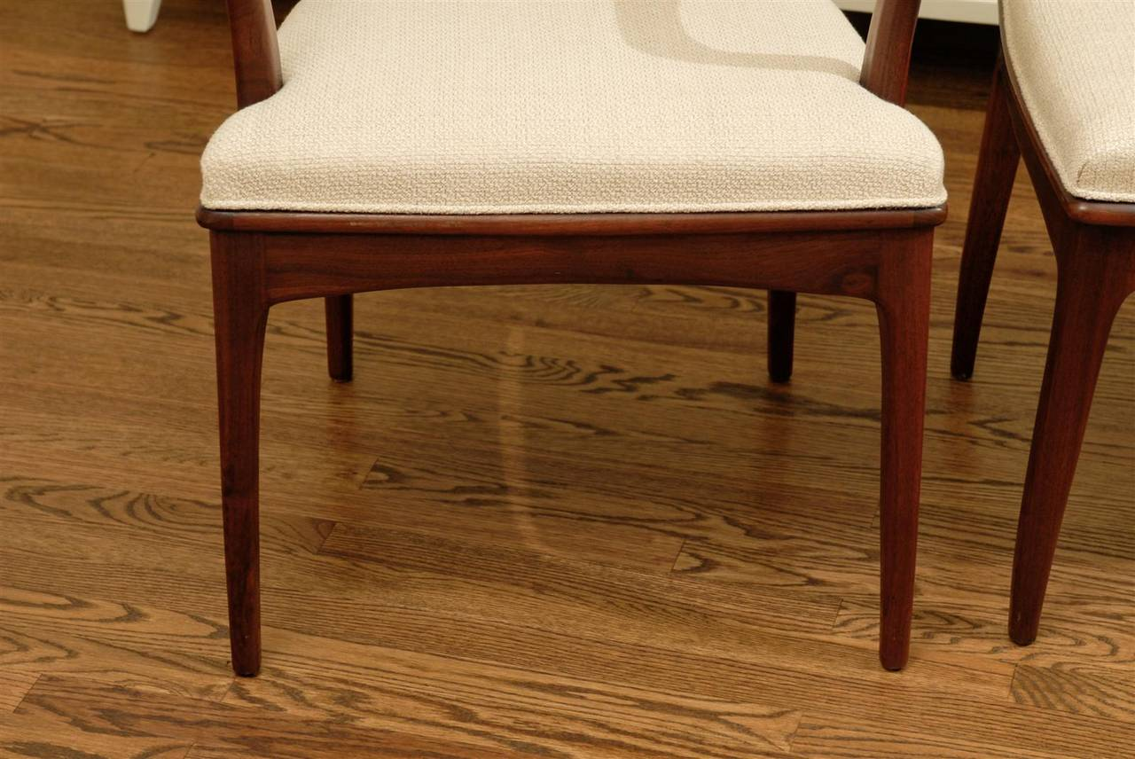 Elegant Set of Six Walnut and Cane Dining Chairs by John Stuart For Sale 2