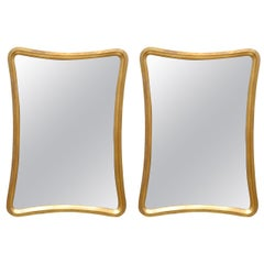 Sophisticated Pair of Modern Mirrors in Gold Leaf