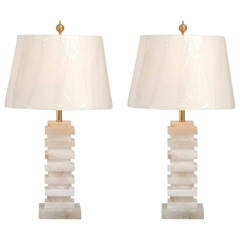 Gorgeous Pair of Vintage Marble Lamps