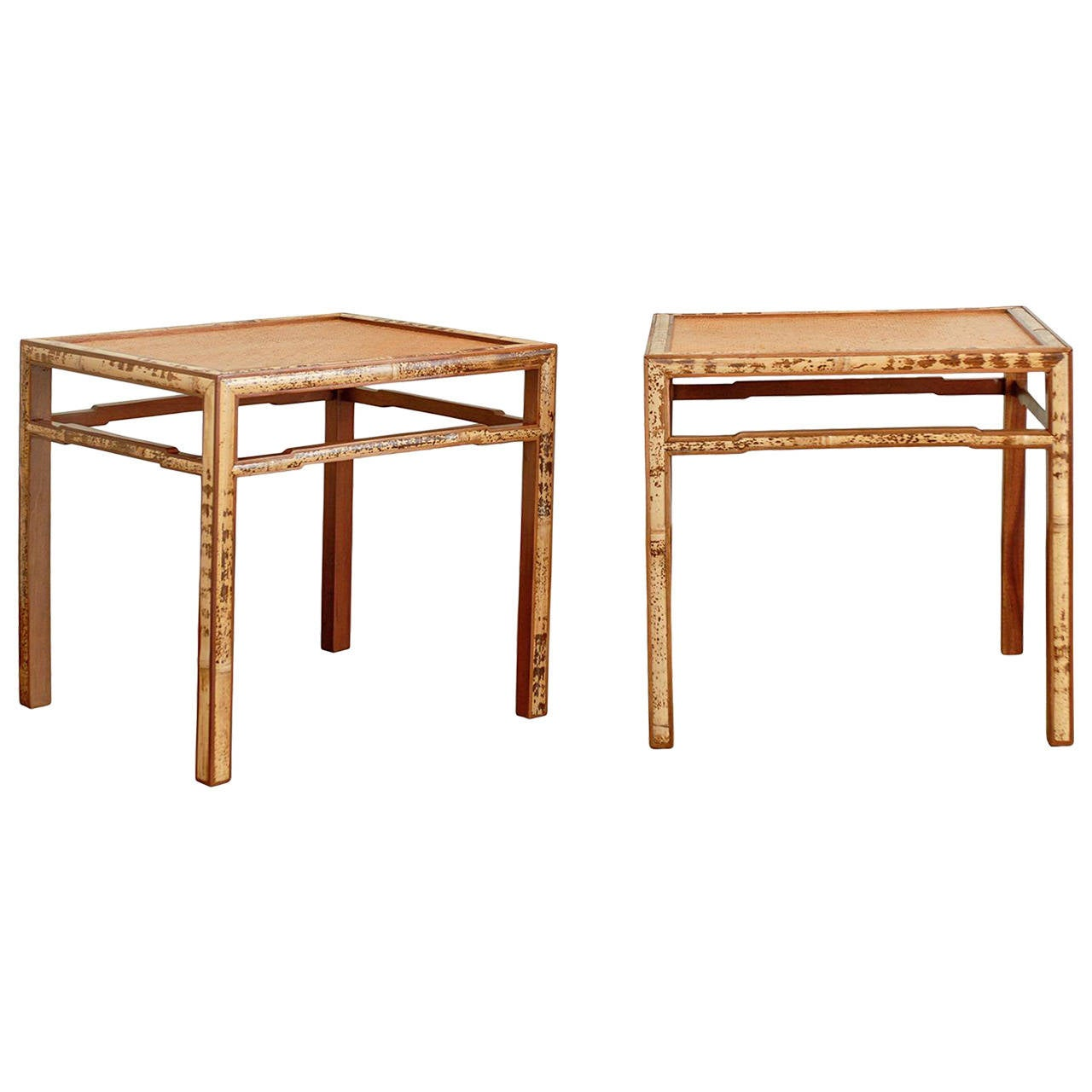 Beautiful pair of bamboo and raffia end tables at 1stdibs for Beautiful end tables