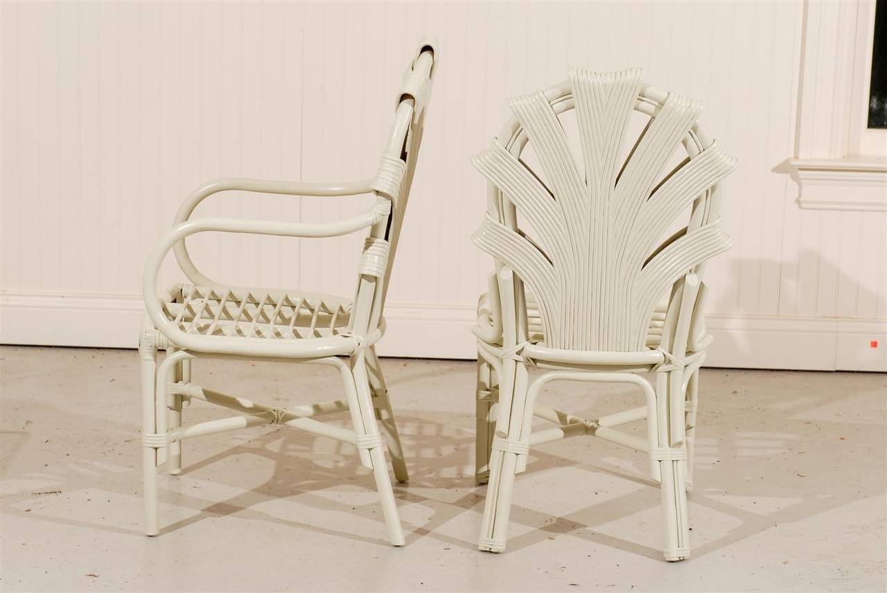 six vintage rattan dining chairs in cream lacquer for sale at 1stdibs
