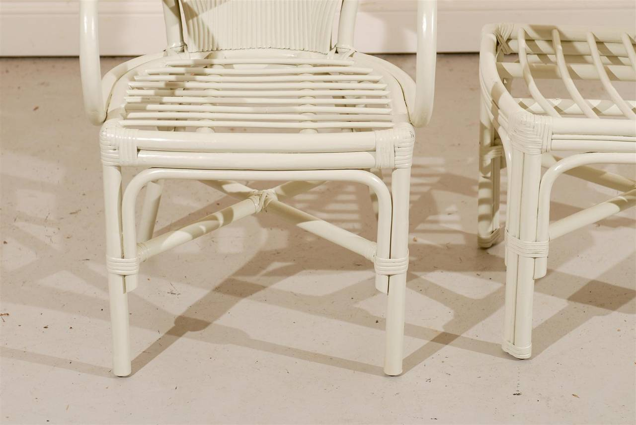 Outstanding Exceptional Set Of Six Vintage Rattan Dining Chairs In Cream Lacquer Ocoug Best Dining Table And Chair Ideas Images Ocougorg