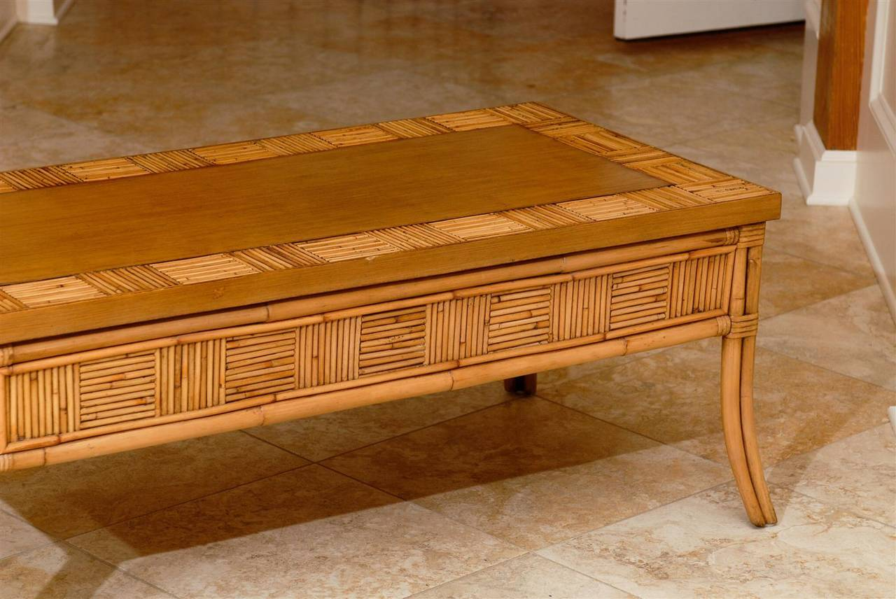 Lovely Vintage Bamboo and Rattan Coffee Table with Saber Leg Detail For Sale 3