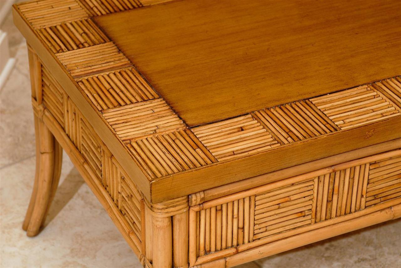 Lovely Vintage Bamboo and Rattan Coffee Table with Saber Leg Detail For Sale 1