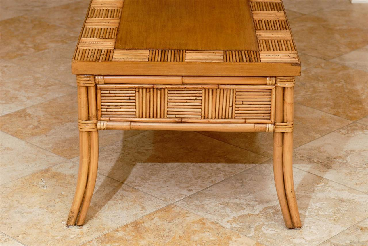 Lovely Vintage Bamboo and Rattan Coffee Table with Saber Leg Detail For Sale 2