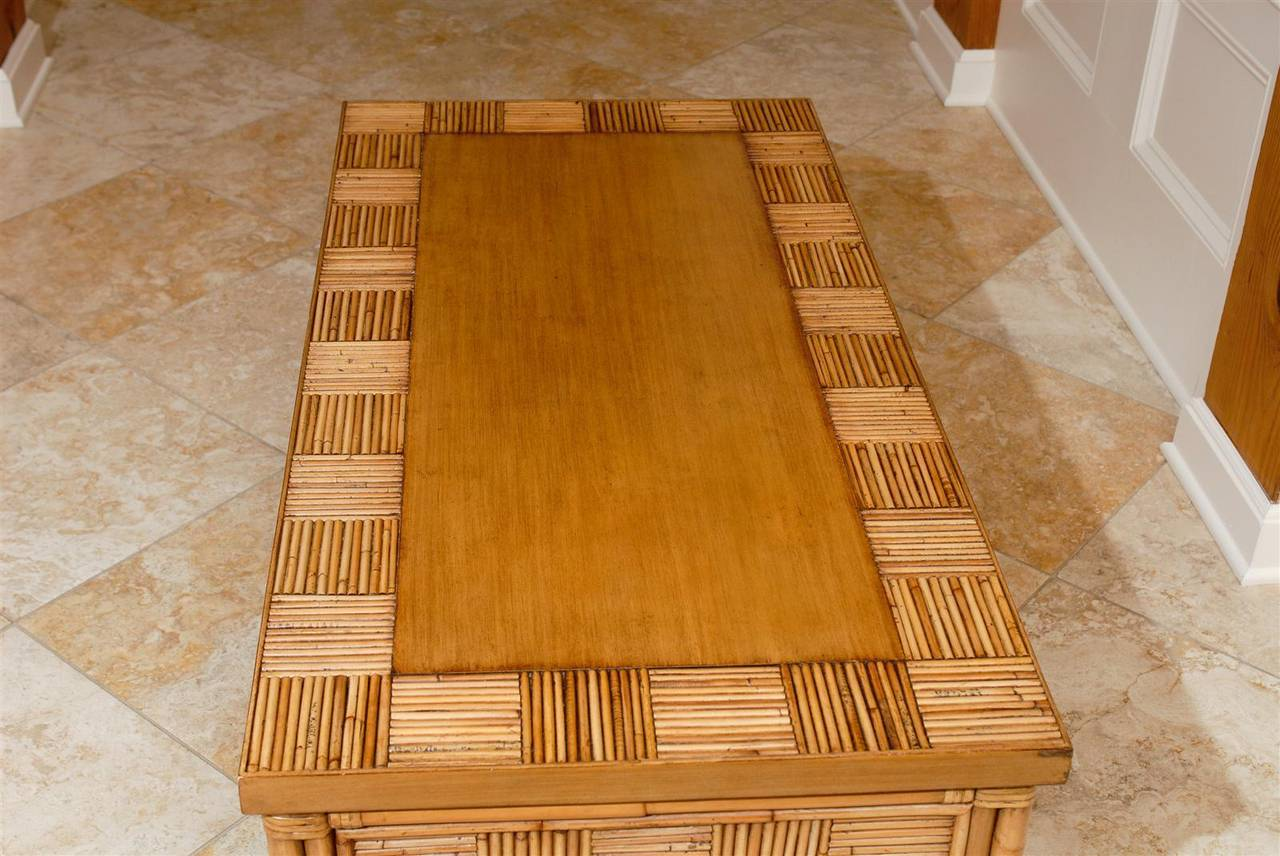 Lovely Vintage Bamboo and Rattan Coffee Table with Saber Leg Detail For Sale 4