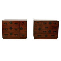 Amazing Restored Pair of Vintage Modern Tansu Chests by Baker