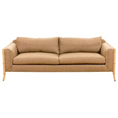 Fabulous Vintage Saber Leg Faux Bamboo Sofa