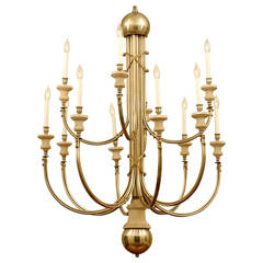 Elegant and Modern 12-Light Chandelier in Nickel and Brass