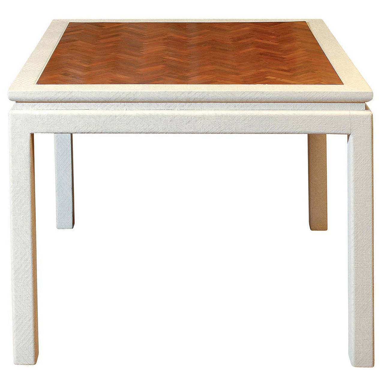 Outstanding Cream Raffia Game Table with Walnut Parquet Top at 1stdibs