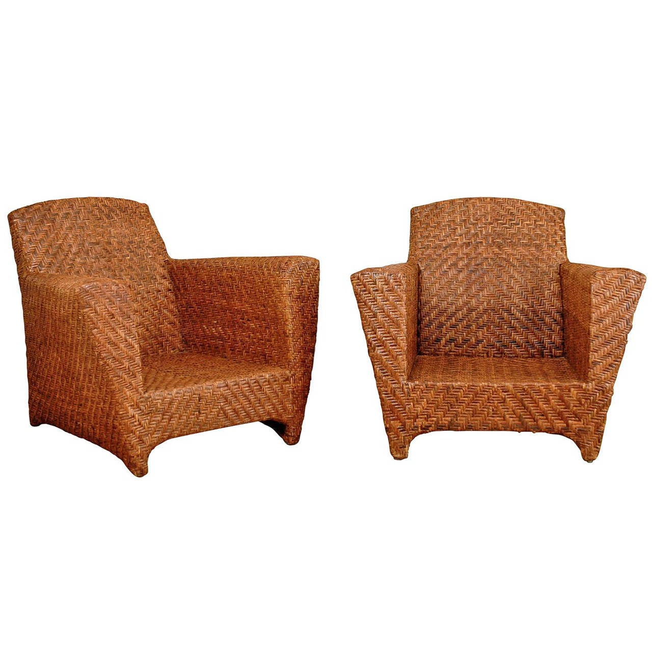 handsome pair of vintage rattan club chairs for sale at 1stdibs. Black Bedroom Furniture Sets. Home Design Ideas