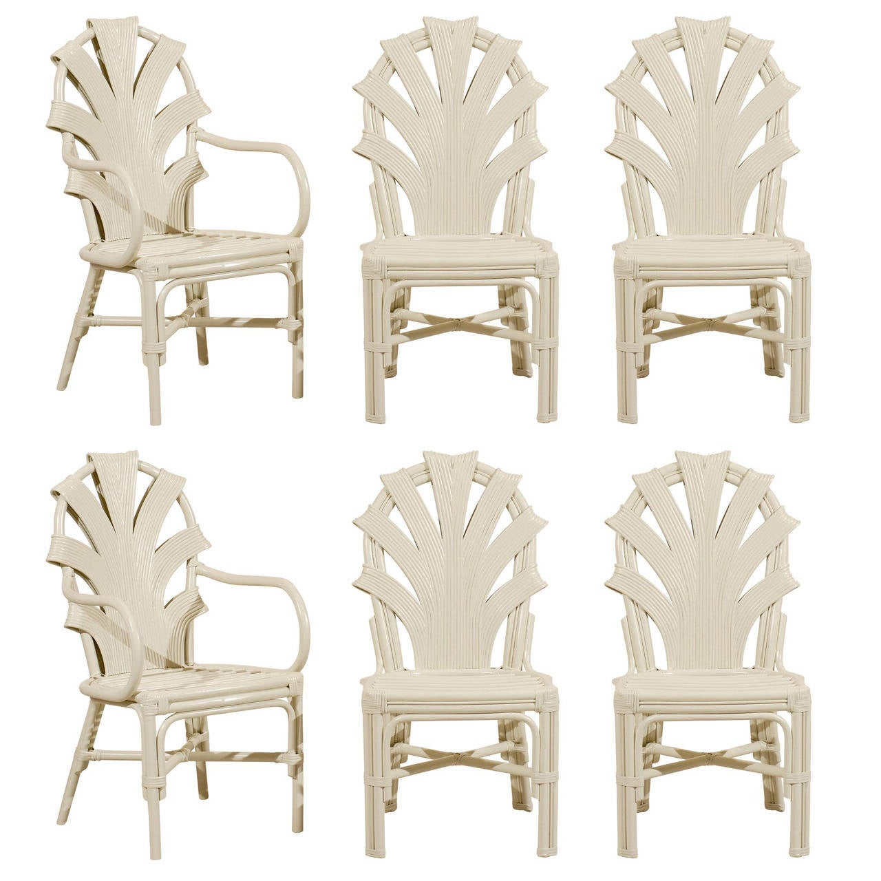 Exceptional set of six vintage rattan dining chairs in for Cream dining room chairs sale