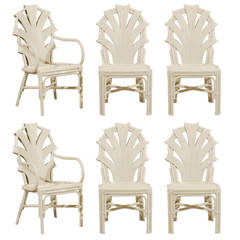 Exceptional Set of Six Vintage Rattan Dining Chairs in Cream Lacquer