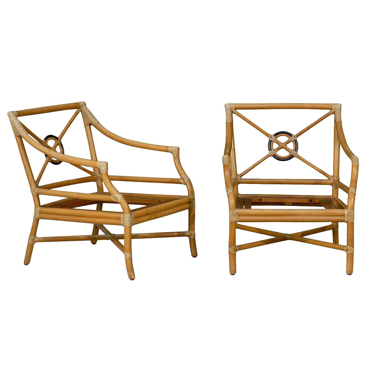 Beautiful Pair of Vintage Bamboo Tar Back Lounge Chairs by McGuire