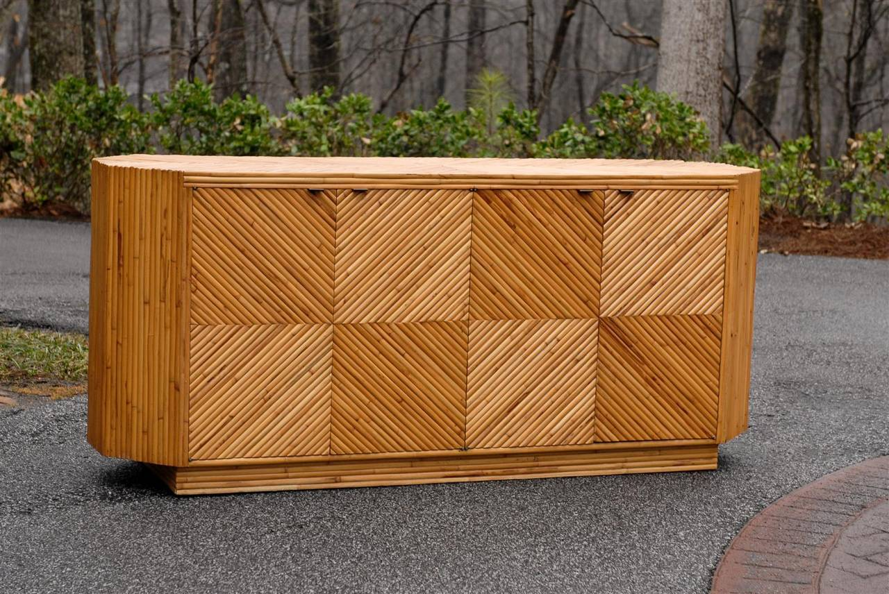 An Exceptional Vintage Bamboo Cabinet Or Buffet, Circa 1970s. Diagonally  Applied Split Bamboo Veneer