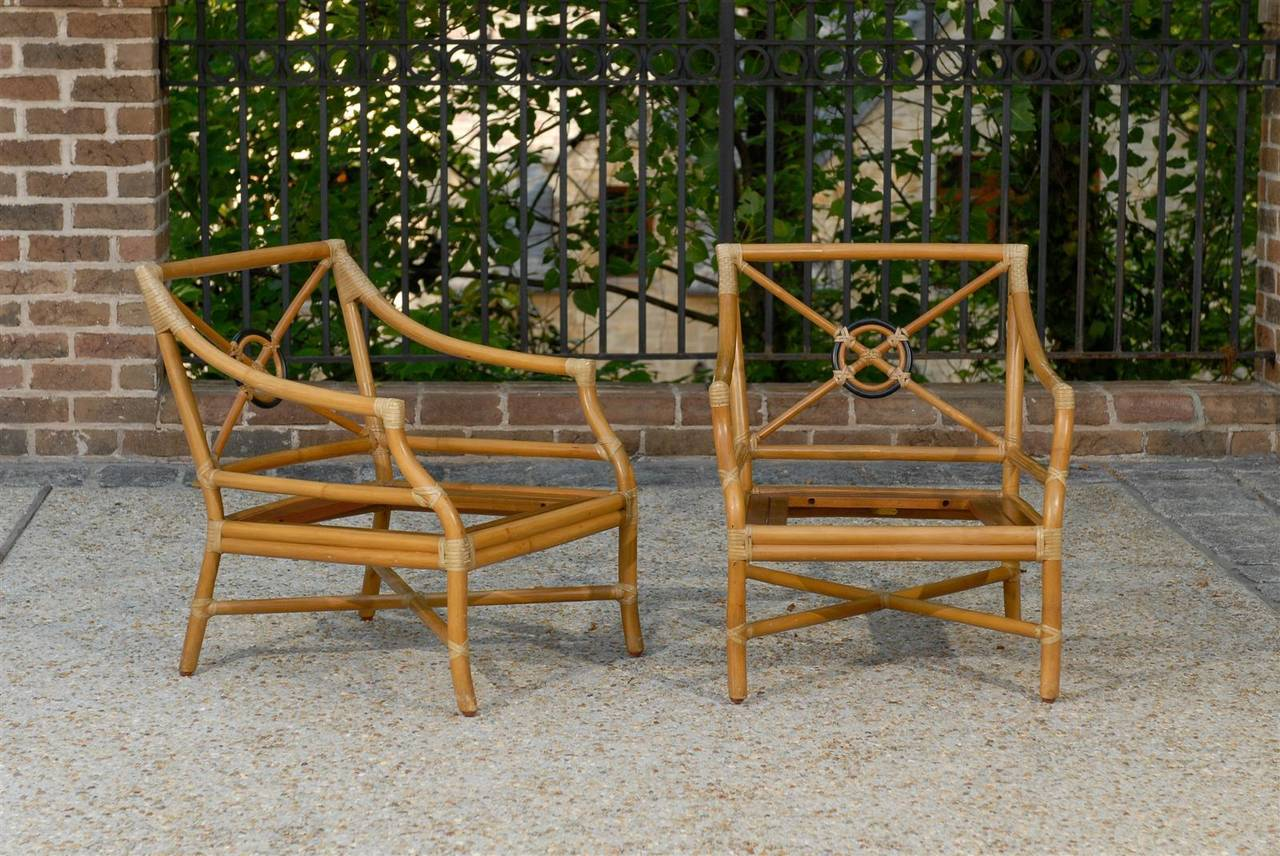 Beautiful Pair of Vintage Bamboo Tar Back Lounge Chairs by McGuire image 2