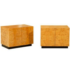 Beautiful Pair of Vintage Bookmatched Olive Wood End Tables or Nightstands