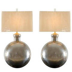 Sterling Pair of Brutalist Medallion Lamps in Nickel and Brass