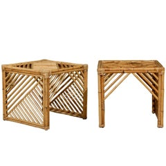 Brilliant Pair of Modern Chippendale Style End Tables in Bamboo