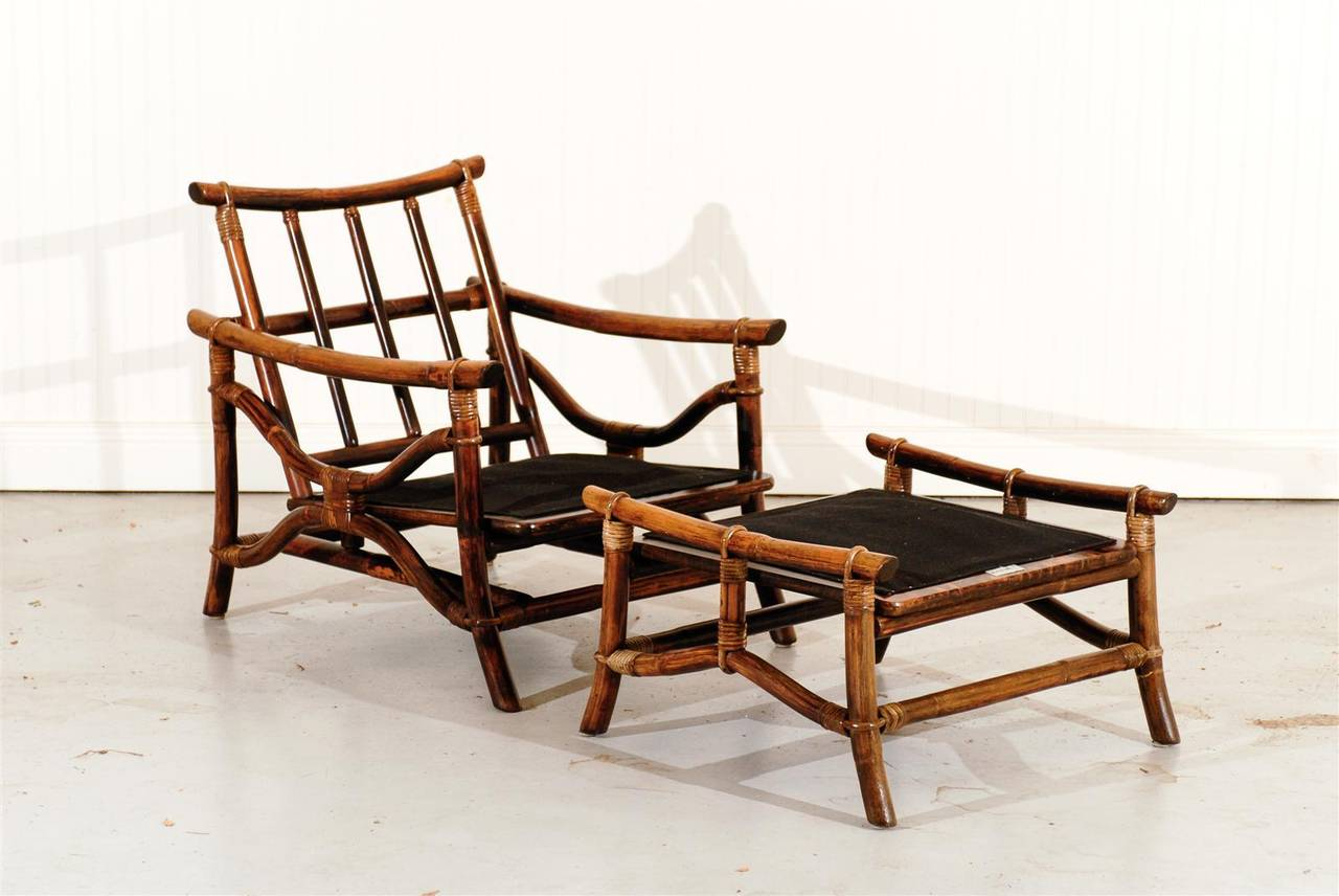 An Exceptional Pair Of Vintage Campaign Style Lounge Chairs With Matching Ottomans Aged To Absolute