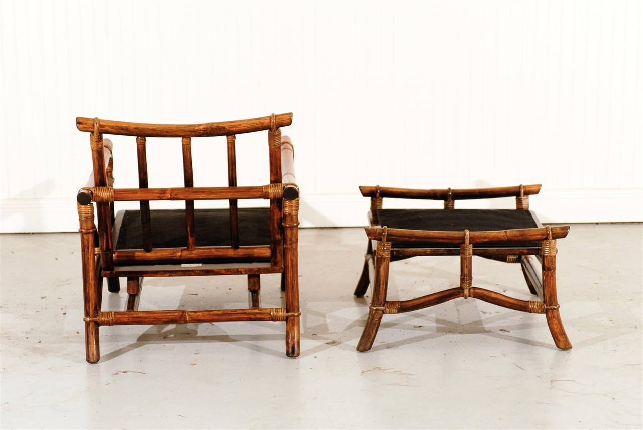 Superb Pair of Vintage Ficks Reed Rattan Lounge Chairs
