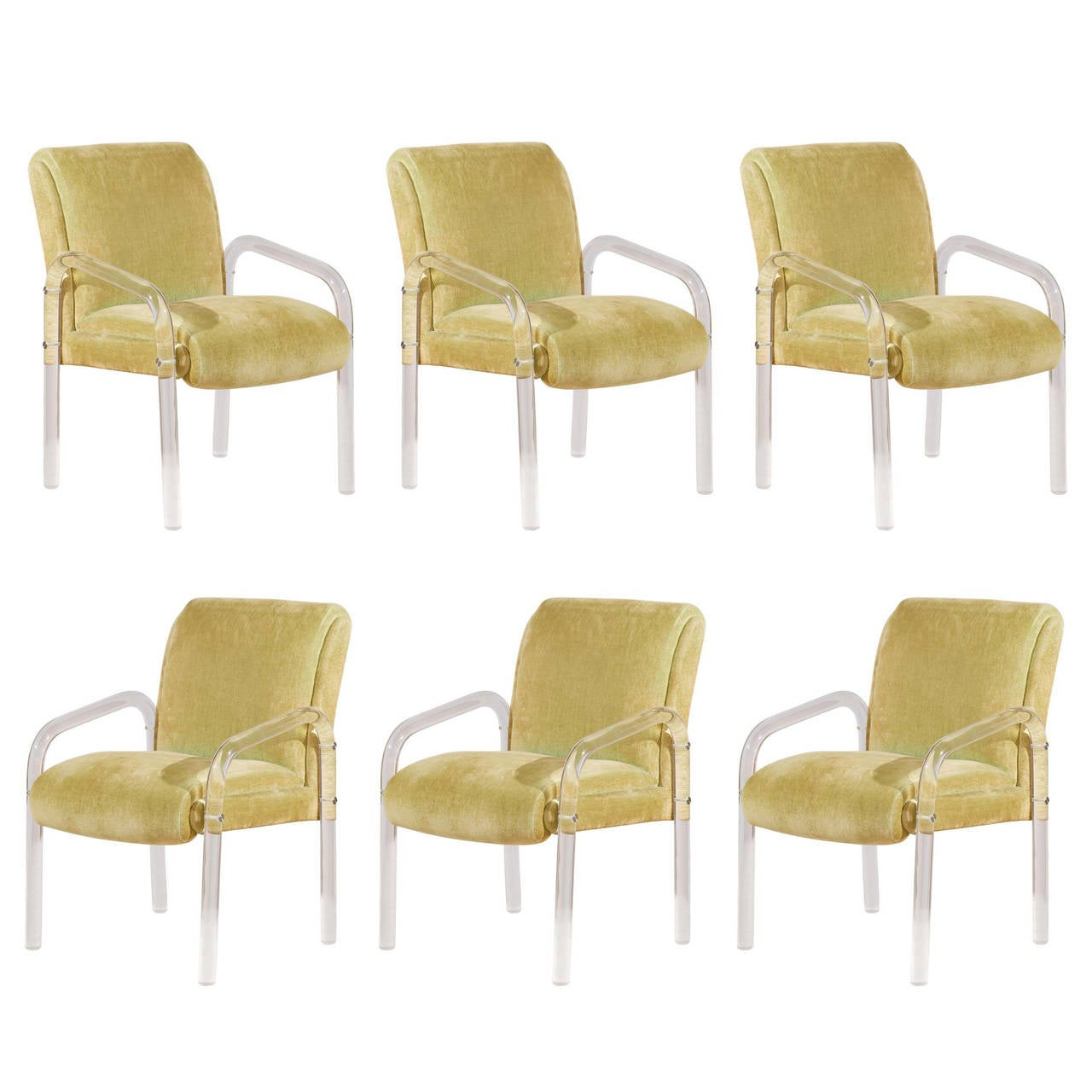 Set Of Six Lucite Dining Chairs By Lion In Frost At 1stdibs