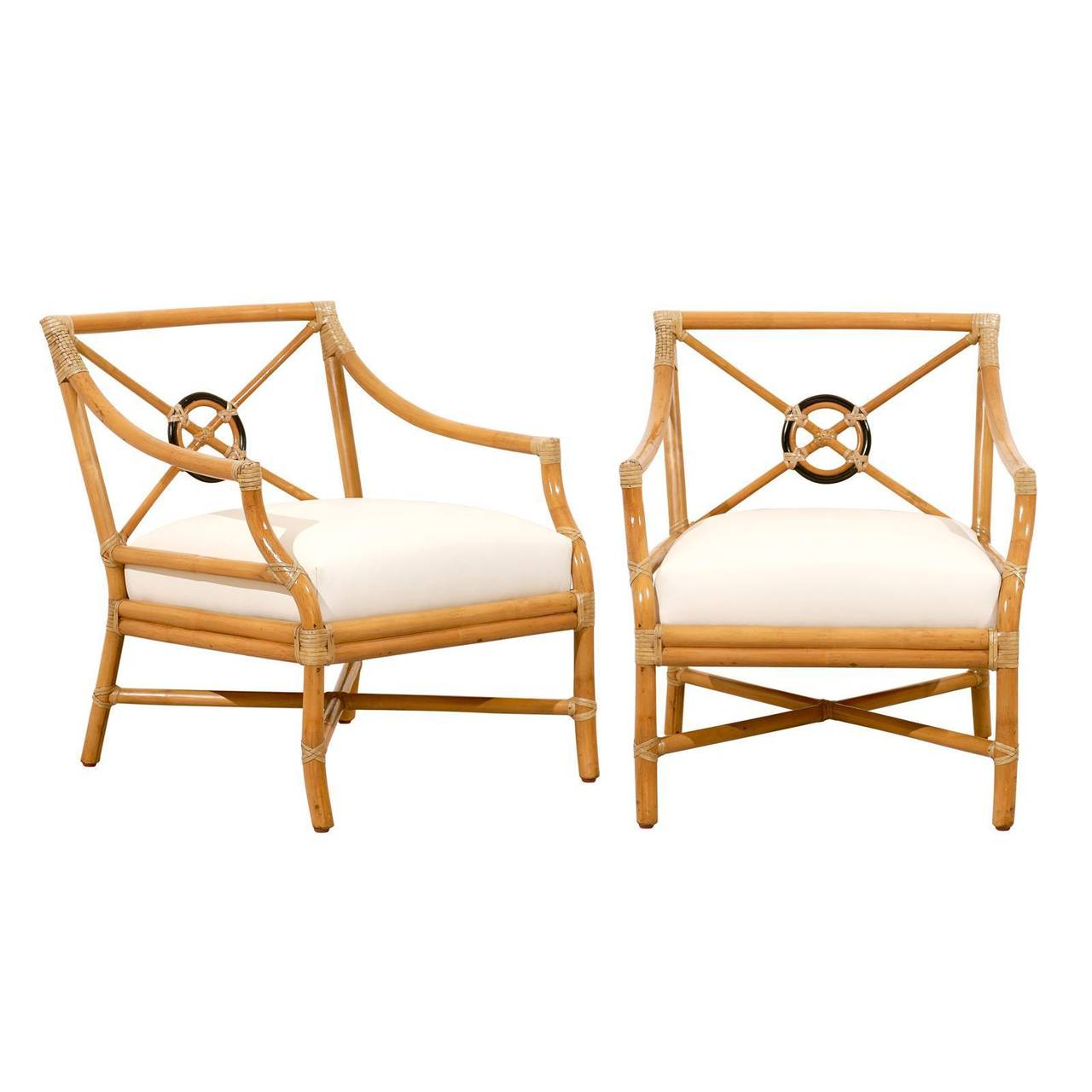 Beautiful Pair Of Vintage Bamboo Target Back Lounge Chairs By McGuire For  Sale