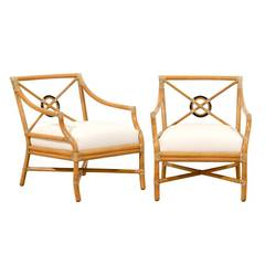 Merveilleux Beautiful Pair Of Vintage Bamboo Target Back Lounge Chairs By McGuire At  1stdibs