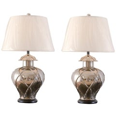 Pair of Vintage Faux Bamboo Ginger Jar Lamps