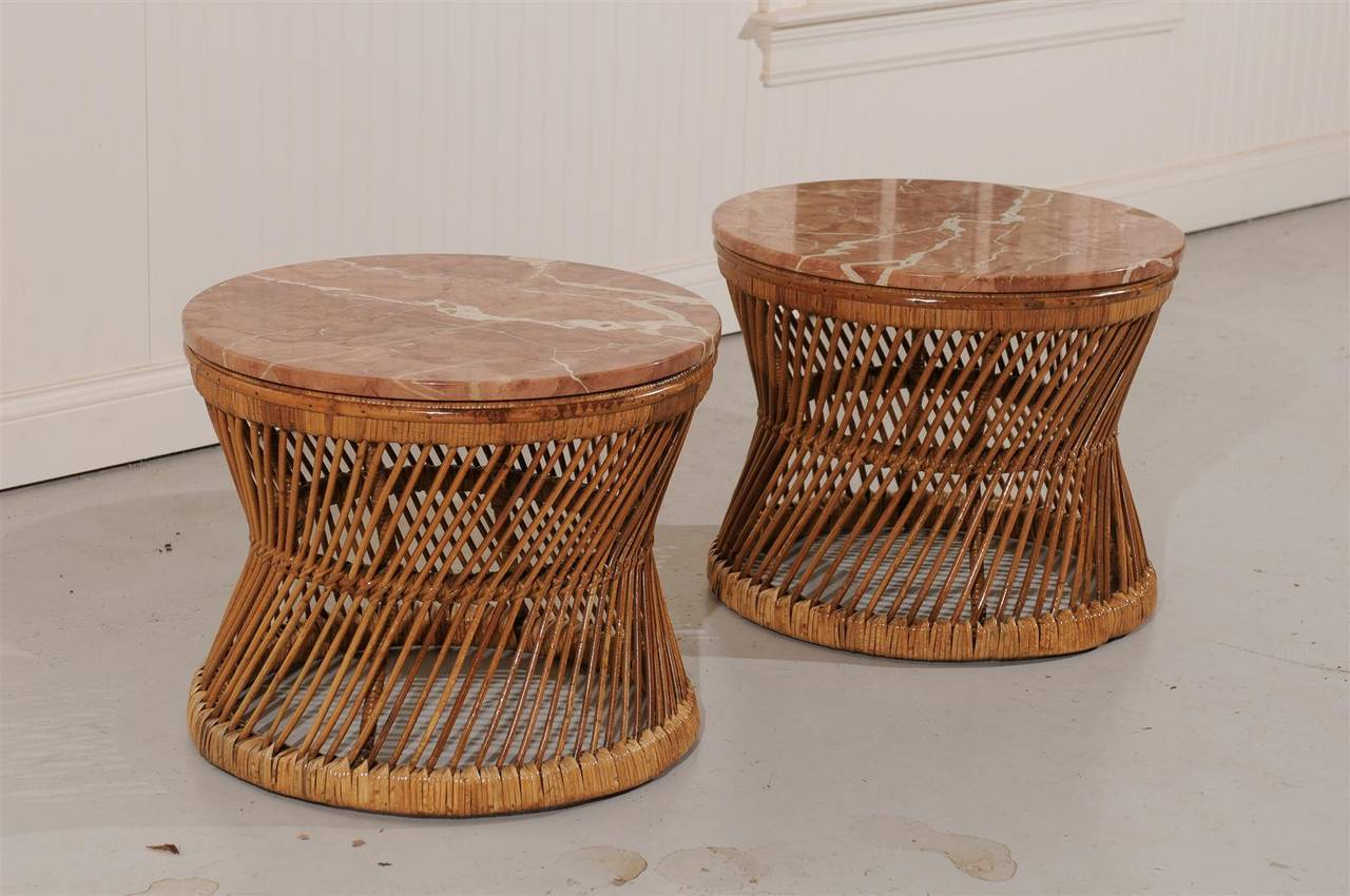Pair Of Vintage Rattan And Marble End Or Coffee Tables At 1stdibs