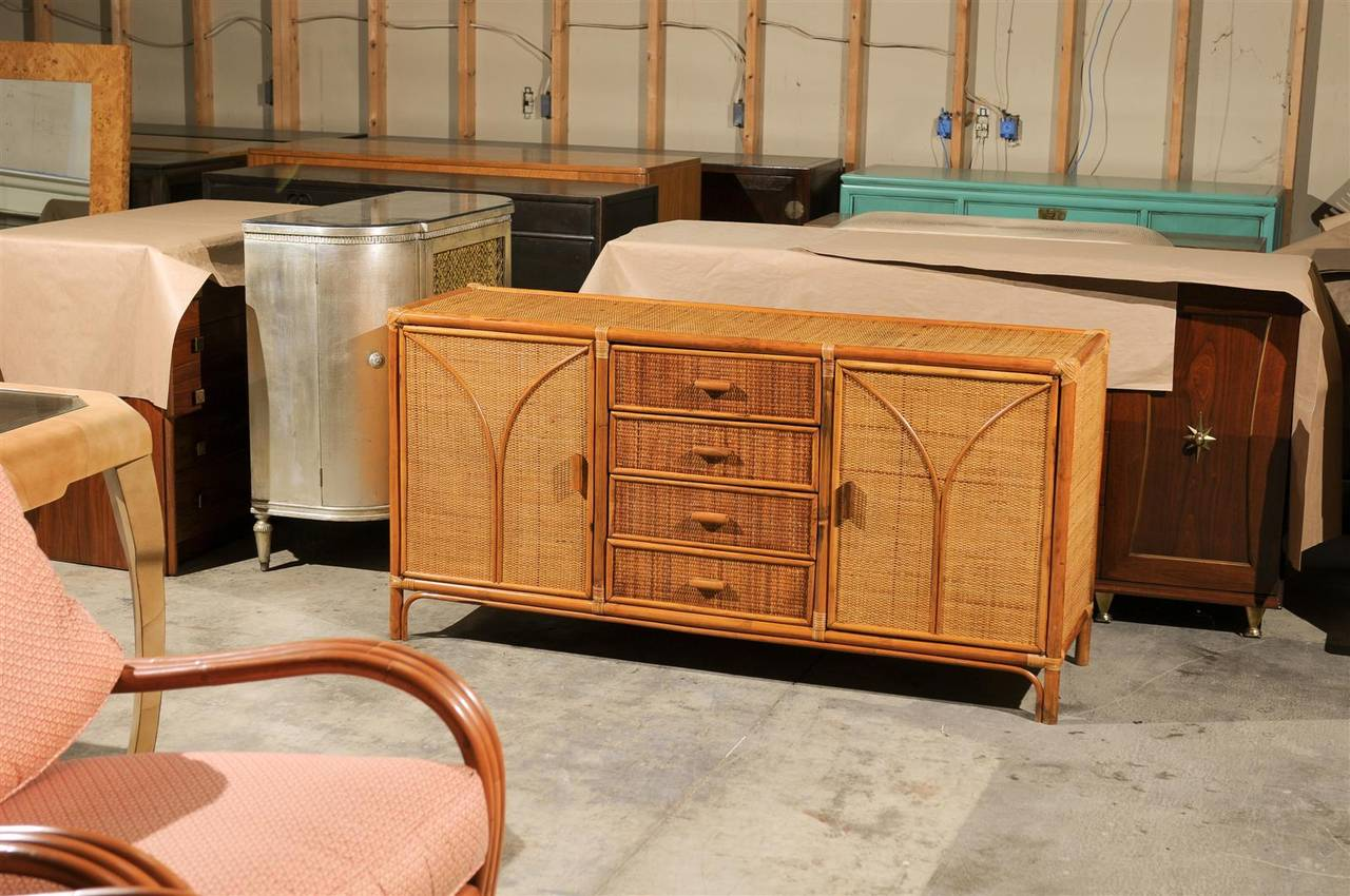 Mid Century Modern Vintage Rattan And Raffia Cabinet Or Buffet For
