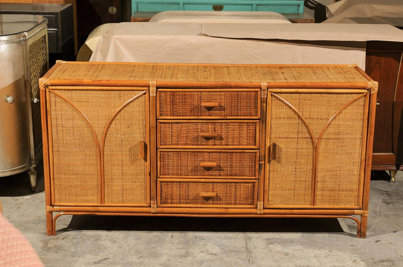 Unknown Vintage Rattan And Raffia Cabinet Or Buffet For