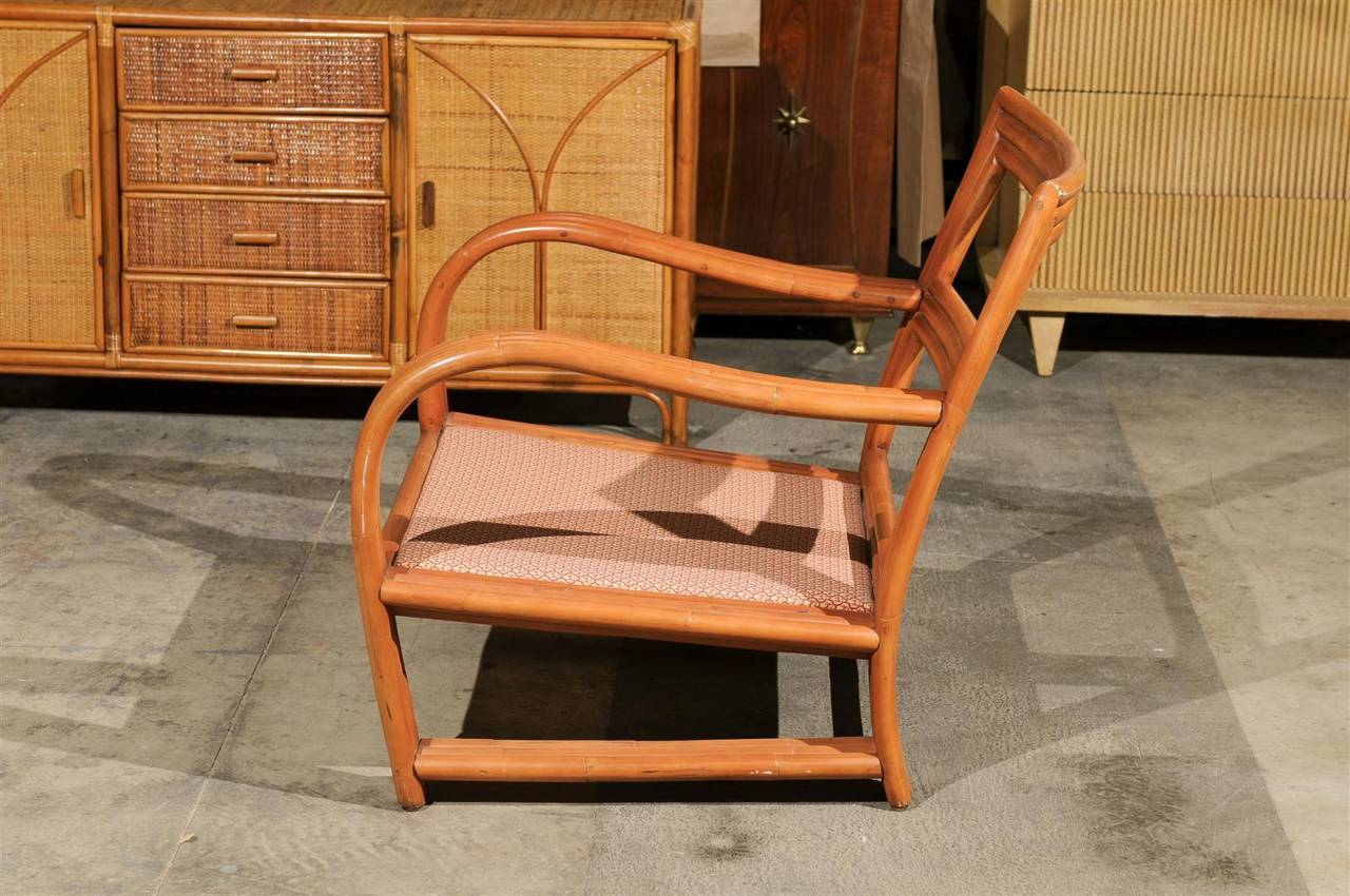 Pair Of Vintage Rattan Club Chairs In The Style Of Ficks