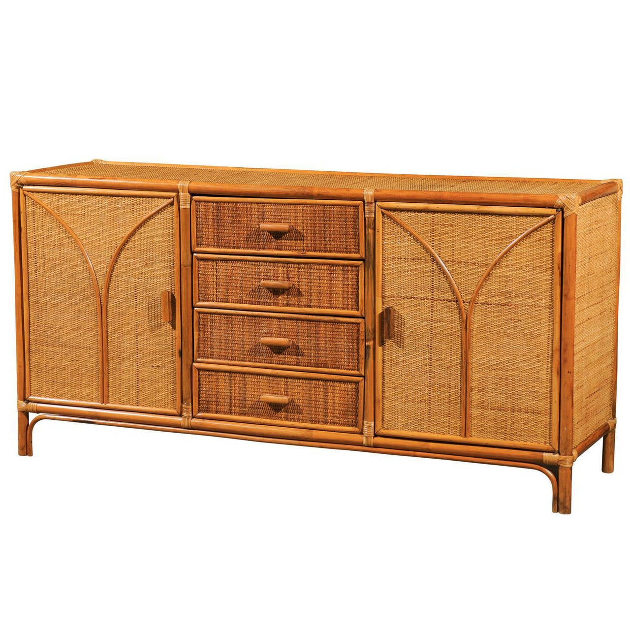 Vintage rattan and raffia cabinet or buffet at 1stdibs for Sideboard rattan