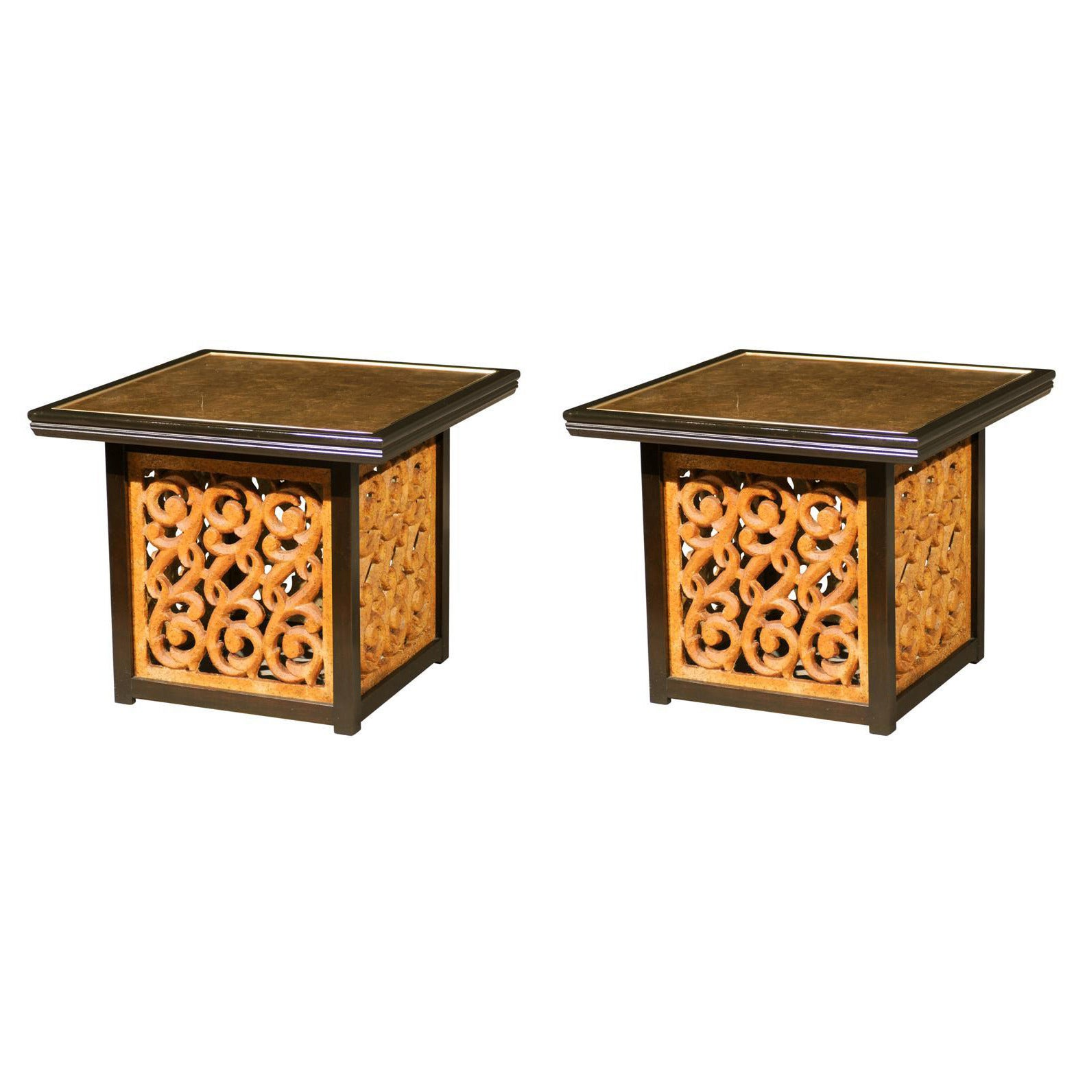 Spectacular Pair of Mediterranean Style End or Coffee Tables by Widdicomb