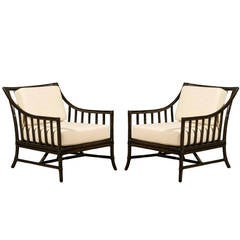 Restored Pair of Large Scale Vintage Rattan Lounge Chairs in Espresso