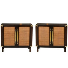 Sophisticated Pair of Walnut Cabinets with Raffia and Brass Accents