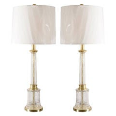 Monumental Pair of Vintage Crackled Glass Lamps