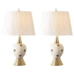 Pair of Ceramic and Brass Lamps by Rembrandt
