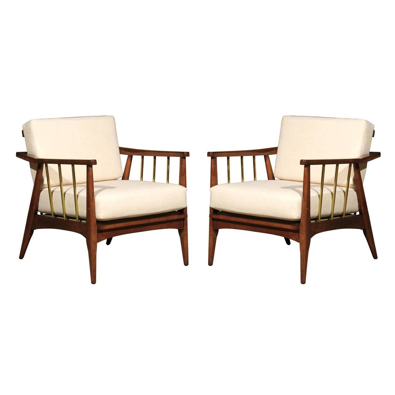 Rare Pair of Lounge Chairs Attributed to Edmond Spence