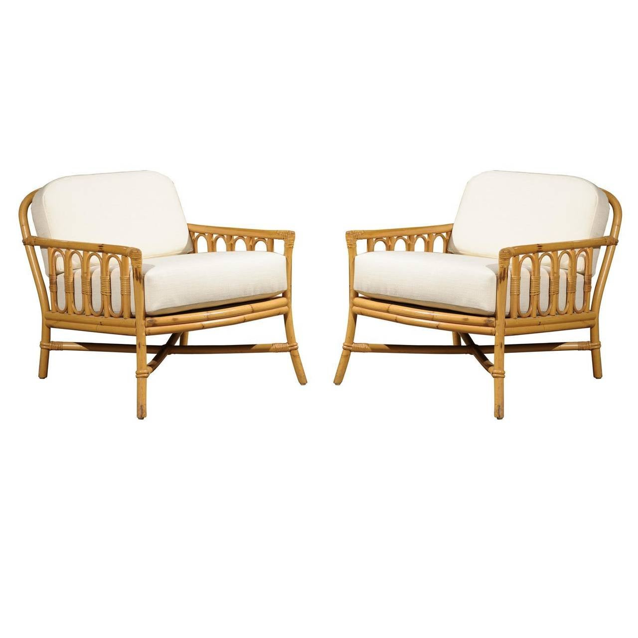 decorative pair of vintage rattan lounge chairs by ficks reed at